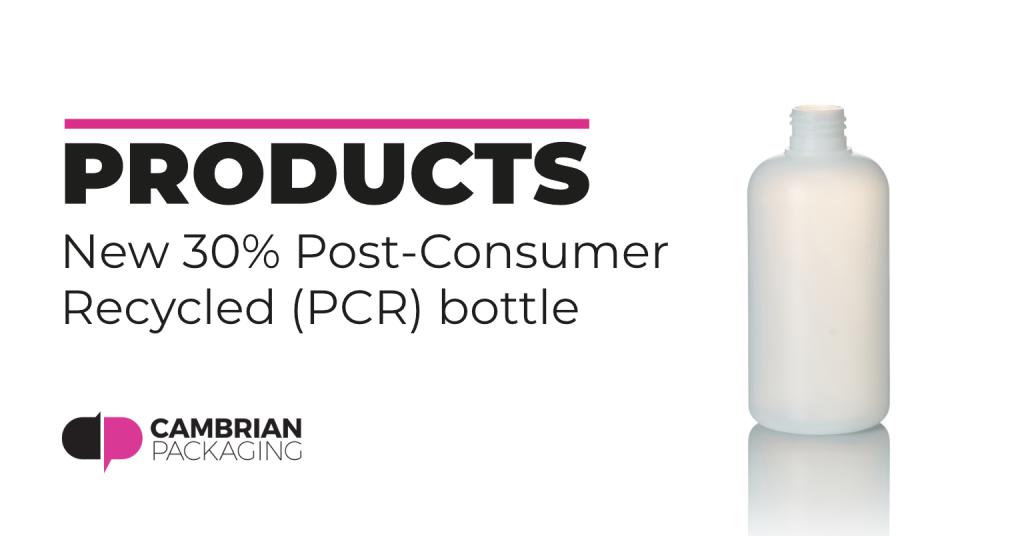 30% Post-consumer recycled bottle blog